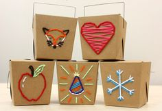DIY Embroidered Gift Boxes