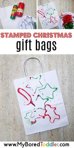 easy stamped Christmas gift bags for toddlers - a nice easy toddler or preschool. easy stamped Christmas gift bags for toddlers – a nice easy toddler or preschooler christmas craf Christmas Activities For Toddlers, Preschool Christmas Crafts, Toddler Christmas Gifts, Christmas Gift Bags, Personalized Christmas Gifts, Toddler Gifts, Kids Christmas, Holiday Crafts, Winter Toddler Crafts
