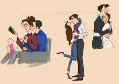 Sherlock x Molly: I ship it like FedEx. And I love drawing them in little sweet moments. I was using Milt's sketches for style referen...