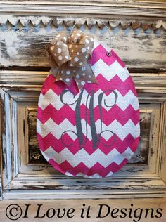 Chevron Easter Egg with Initial Burlap Door by ILoveItDesigns, $32.00