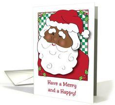 Merry Christmas, African American Santa,... | Greeting Card Universe by Gail Pepin