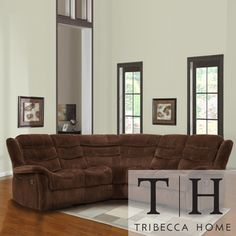 @Overstock.com - TRIBECCA HOME Grayson Chocolate Velvet Double Recliner Sectional - A distinctive curved shape makes this Grayson Sectional Sofa a contemporary piece to add to your home decor. Designed with a wedge that maximizes legroom at the corner, it comfortably accommodates five people.  http://www.overstock.com/Home-Garden/TRIBECCA-HOME-Grayson-Chocolate-Velvet-Double-Recliner-Sectional/7330203/product.html?CID=214117 $1,199.99
