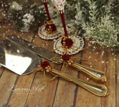 Wedding Cake Server Set with Matching Champagne Flutes Royal Red Burgundy - pinned by pin4etsy.com