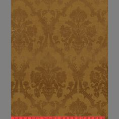 Victorian Flocked Velvet Wallpaper -1940' Flock  [WFLO-3053] Aged Gold Flock on Gold   DesignerWallcoverings.com ™ - Your One Stop Showroom for Custom, Natural, & Specialty Wallcoverings   Largest Selection of Wall Papers   World Wide Showroom   Wallpaper Printers