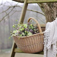 A Tisket - A Tasket - Such a Pretty Basket Wooden Basket, Rope Basket, Flower Basket, Basket Weaving, Cane Baskets, Wicker Baskets, Farmhouse Baskets, Vintage Ladder, Basket Decoration