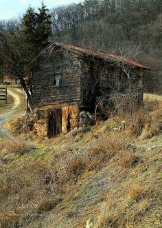 Stonework and Logs, Walnut Bottom/Hutter Road in central Hardy County, WV