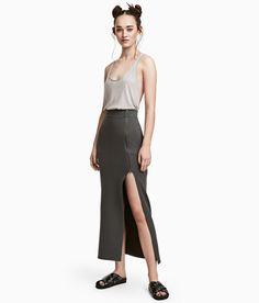 Check this out! Long skirt in sweatshirt fabric. Elasticized waistband and zip at front ending in a long slit. - Visit hm.com to see more.