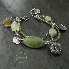 Sterling silver, prehnite, nephrite, amber, ancient glass, chalcedony, peridot - bracelet