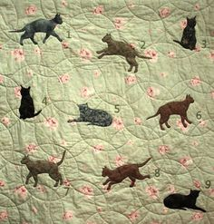 Jointed cat template on Etsy to create a quilt with jumping, sitting, lying down appliqued cats.