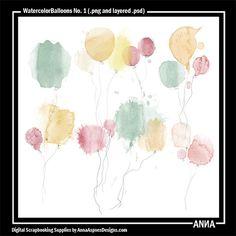 Oscraps :: Shop by Designer :: Anna Aspnes Designs :: WatercolorBalloons No. 1