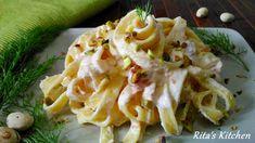 Fettuccine alla crema di salmone  e granella di pistacchi