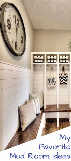 Let's Declutter! There's no better way to get your entryway, foyer, laundry room or ANY area in your house clutter-free than by turning that area into a MUD ROOM. This page has some of my favorite mudroom designs and DIY ideas - lots of mudroom pictures for inspiration too! #clutterfree