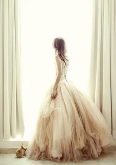 cream corsetted tulle and layers of chiffon ombre... plus love the bunny!