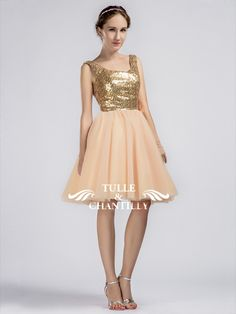 Sparkling Short Gold Sequined Prom/Bridesmaid Dress with Tulle Skirt