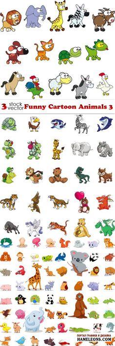 Забавные мультяшные животные - коллекция в векторе | Funny Cartoon Animals vector