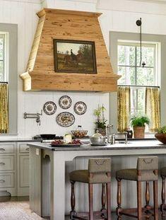 Kitchen Island Hood Ideas, Country Kitchen Backsplash, Kitchen Vent Hood, Kitchen Stove, Kitchen Layout, Rustic Kitchen, Diy Kitchen, Kitchen Ideas, Kitchen Designs