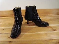 Womens ESCADA Black Patent Leather Reptile Ankle Boots 7B Italy | eBay
