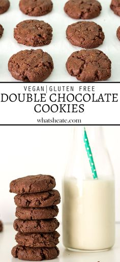 Chewy vegan & gluten free Double Chocolate Cookies #vegan #glutenfree #recipe Best Gluten Free Cookie Recipe, Delicious Cookie Recipes, Dairy Free Recipes, Vegan Gluten Free, Dessert Recipes, Vegan Recipes, Delicious Dishes, Paleo, Double Chocolate Cookies
