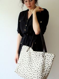 Hand Printed Linen Tote Bag Black Polka Dots - Brown Leather Handles