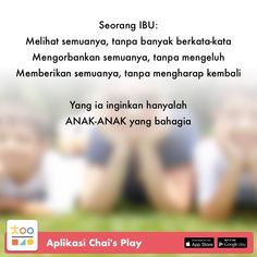 Satu sehari, tips permainan & pengasuhan anak, hanya di Chai's Play Quotes For Kids, Family Quotes, Me Quotes, Qoutes, Motivational Quotes, Broken Home, Self Reminder, Learning To Be, Doa