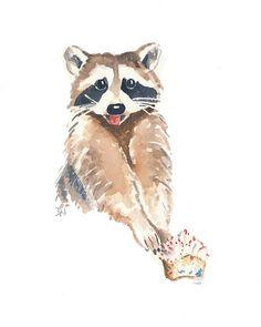 Original Raccoon Watercolor Painting Raccoon by WaterInMyPaint