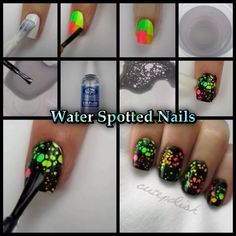 Water spotted nails: Paint nails white. Paint nails different colors. Put tape around nails to help with mess. Fill cup with slightly warm water. Much like with water marble, use black and drop 3 to 4 drops into water. Then use hand sanitizer spray and spray one or two times depending on how many circles you want. Dip finger in water and wait ten seconds till polish drys and remove excess around nail with toothpick. Clean up around nail with polish remover and apply a top coat.