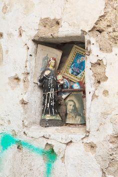 Morbid Anatomy: Makeshift Shrine, Wall, Palermo Religious Icons, Religious Art, Home Altar, Catholic Art, Chapelle, Blessed Mother, Sacred Art, Our Lady, Religion