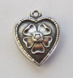 Vintage C1940's Sterling Forget-Me-Not Flower Puffy Heart Charm For Bracelet-Inscribed