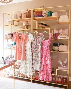Bookshelf styling with pretty dresses.