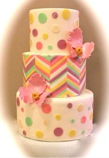 Colorful and Bright wedding cake complete with chevron and polkadots