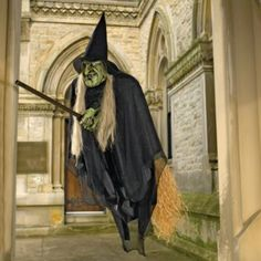 Flying Halloween Witch: http://www.grandinroad.com/flying-halloween-witch/19369?defattrib===0 The Flying Halloween Witch glides in the air on her magic broomstick. Make a perfectly spooky Halloween statement with this highly-detailed 6-foot wide wicked witch. She is the perfect Halloween decoration for outside on the porch or in a tree. (October 2012)