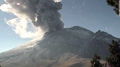 Mexico's Popocatépetl volcano surprised observers with a startling sight Friday: a massive column of ash billowing in the air.