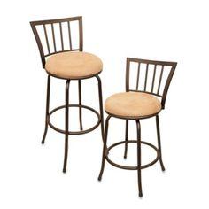 $40/stool, Cheyenne Hudson Swivel Counter Stool and Bar Stool - BedBathandBeyond.com