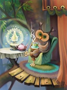 "Evening is approaching, the lamps are lit, time for my ""morning"" cup of coffee."