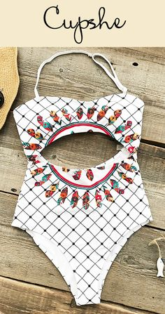 Chic new arrival! Pretty print and cute cutout at front & at back! FREE shipping~ Pack it now and you'll stand out from the crowd!