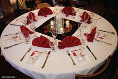 Red and black reception table centerpiece