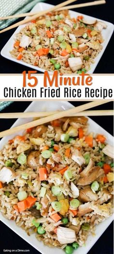 15 MINUTE EASY CHICKEN FRIED RICE RECIPE No need to get take out when you can make this easy chicken fried rice recipe at home. In 15 minutes, your family can enjoy authentic chicken fried rice. Chicken Fried Rice Recipe Easy, Leftover Chicken Recipes, Easy Chicken Recipes, Fried Chicken, Healthy Chicken, Turkey Recipes, Beef Recipes, Crockpot Rice Recipes, Dinner Ideas