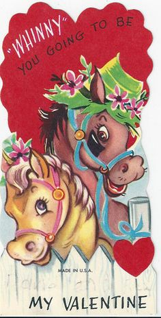 vintage valentines horses with bonnet and flowers