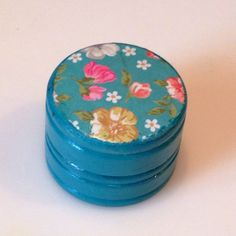 Lip Balm Turquoise Floral Strawberry Scent and by LBCrystalCottage