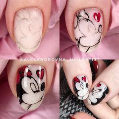New Nail Art Design, Creative Nail Designs, Nail Art Hacks, Gel Nail Art, Mickey Mouse Nails, Nail Drawing, Animal Nail Art, Valentine Nail Art, Nail Art Techniques
