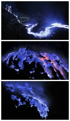 The Ijen vulcan's crater (located in east Java Island, Indonesia) have a Blue Flame phenomenon, that there are only 2 in the world (the other one is in Iceland), and can be seen only at night. This is liquid sulfur, which has caught fire and burns with an eerie blue flame. Acidic gases emerges from the fumaroles among yellowish chunks of sulfur, and burns liquid sulfur. There, inside the Kawah Ijen crater, a one-kilometer-wide acidic crater lake lies in the middle.