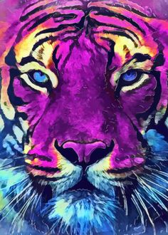 Tiger Purple Spirit Clear Acrylic Organizer/serving Tray by Justyna Jaszke Jbjart - Medium 15 x Tiger Drawing, Tiger Painting, Tiger Artwork, Tiger Spirit Animal, Framed Art Prints, Poster Prints, Colorful Animals, Colorful Animal Paintings, Watercolor Cat