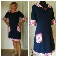 2016 september. Jersey kjole, med retro lommer i fast bomuld. Tripel titte bånd ved lommer og hals.