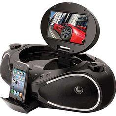 iLive IBPD882B CD/DVD/iPhone Boombox with 7-Inch TFT Display and FM Radio