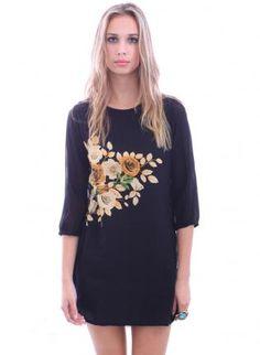 Retro Sewn Rose Scoop Neck Silk Sheer Three Quarter Sleeve B,  Dress, floral print  mini dress  loose fit, Bohemian (Boho) / Hippie