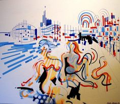 Istambul beach, Nadir Afonso Nadir Afonso, Gustav Klimt, Cubism, Art Activities, Contemporary Art, Portugal, Disney Characters, Fictional Characters, Watercolor