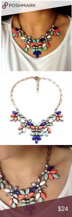 ❤️NEW IN❤️ Coral Mint Floral Statement Necklace Brand new beautiful statement  necklace! All jewelry is buy 2 get 1 free! Jewelry Necklaces