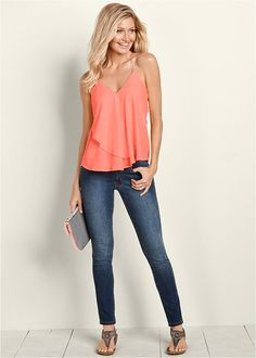 e095206320 Ruffle front tank with embellished skinny denim from VENUS. Top ...