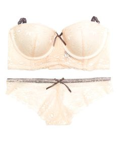 Love this Light Pink & Charcoal Lace Into Style Longline Bra & Tanga on #zulily! #zulilyfinds