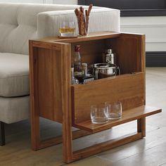 Furniture — Pfeifer Design Furniture Diy Home Bar, Modern Home Bar, Bars For Home, Mini Bar At Home, Modern Room, Mini Bars, Hidden Shelf, Hidden Storage, Extra Storage